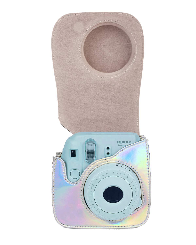 Leebotree Bolsa de Transporte Fabricada en Cuero Flor Mini 9 C/ámara instant/ánea Dispone de Una Correa de Proteger y Bolsillo para Fujifilm Instax Mini 8 8+