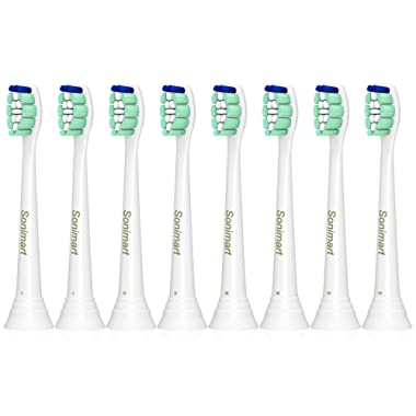 Sonimart Replacement Toothbrush Heads compatible with Sonicare ProResults HX9024, 8 pack, fits 2 Series Plaque Control, 3 Series Gum Health, DiamondClean, FlexCare, HealthyWhite, EasyClean
