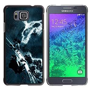 QCASE / Samsung GALAXY ALPHA G850 / apocalipsis cinturón de asteroides arte planeta tierra gris / Delgado Negro Plástico caso cubierta Shell Armor Funda Case Cover