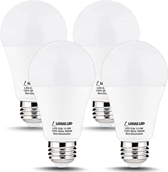 4-Pack Lohas A19 100W LED Light Bulbs