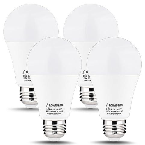 LOHAS 100 Watt LED Light Bulbs Equivalent, A19 LED Lamp 13.5W, Daylight  5000k, E26 Edison Base ...