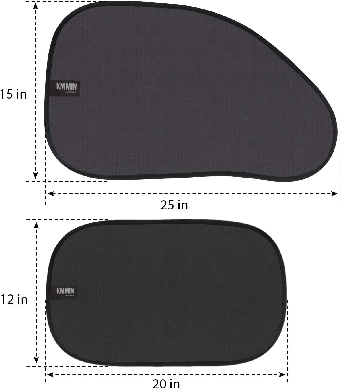 4 Pack KMMIN Car Window Shade Auto Sunshade for Blocking UV Ray and Protecting Kids Pets with Easy Installation and Good Cooling Match 25 X 15 /& 20 X 12 inches