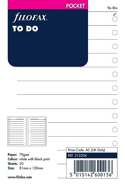 Filofax Pocket - Recambio para agenda de anillas, hoja de tareas (en inglés)