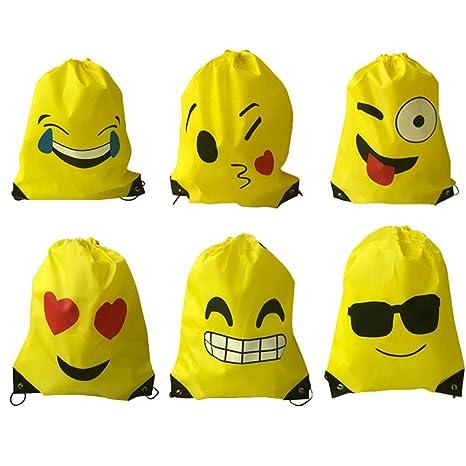 Limeo Emoji Drawstring Mochila Bolsos de Poliéster con Cordón Emoji Emoji Sports Bag Bolsa de Gimnasio Emoji Mochilas de Cordones para Niños Emoji ...