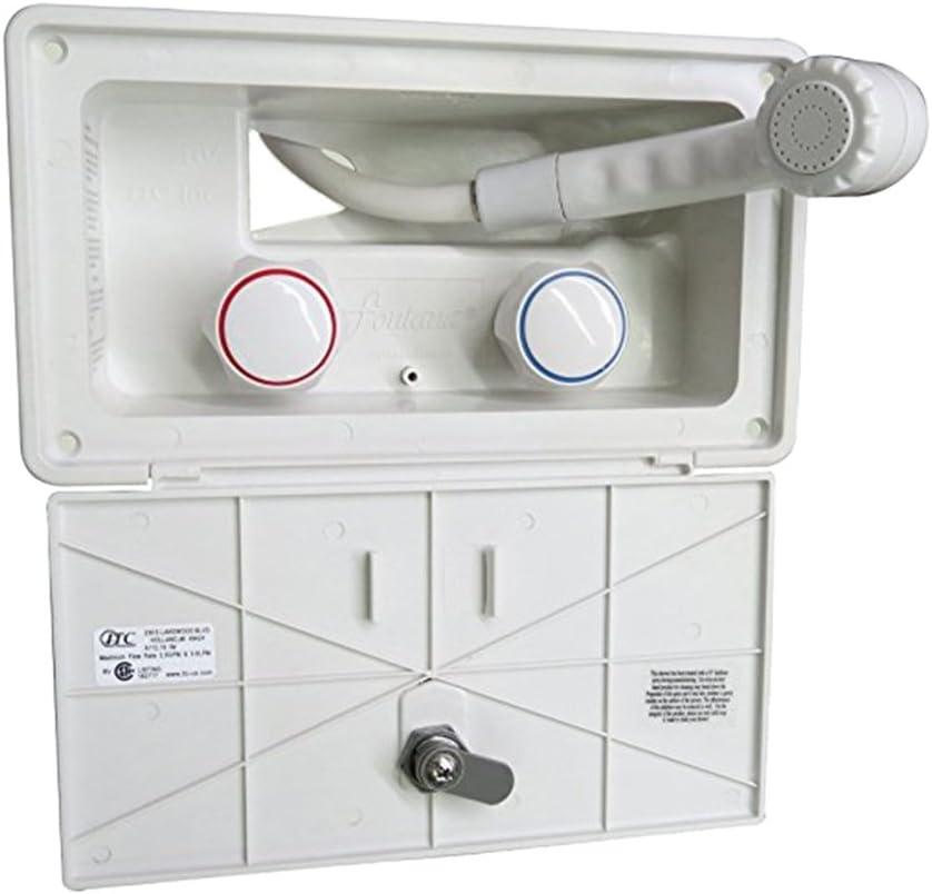 Shiwaki RV Kit De Caja De Ducha Exterior Manguera Camper Ducha De Remolque 97023-A Blanco