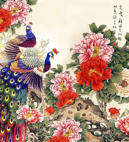 Chinese Painting 500 Pcs Peacock & Peony Puzzle
