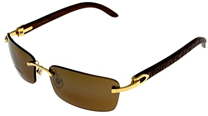94a14a27d39e Amazon.com  Cartier Sunglasses C Decor Rimless Unisex Wood T8200728 ...