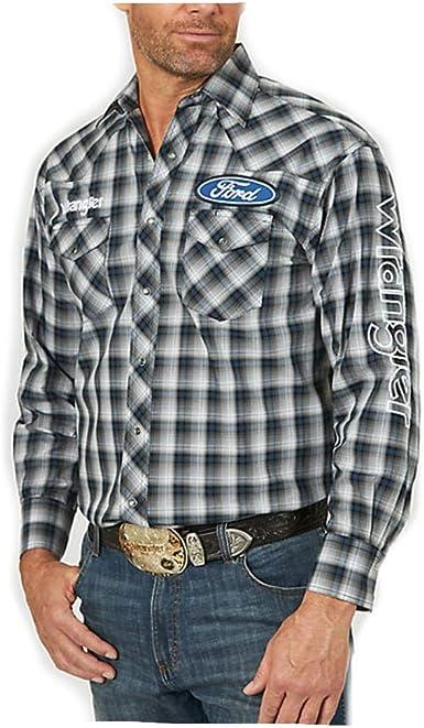 Wrangler Camisa occidental de manga larga con logotipo de Ford para hombre