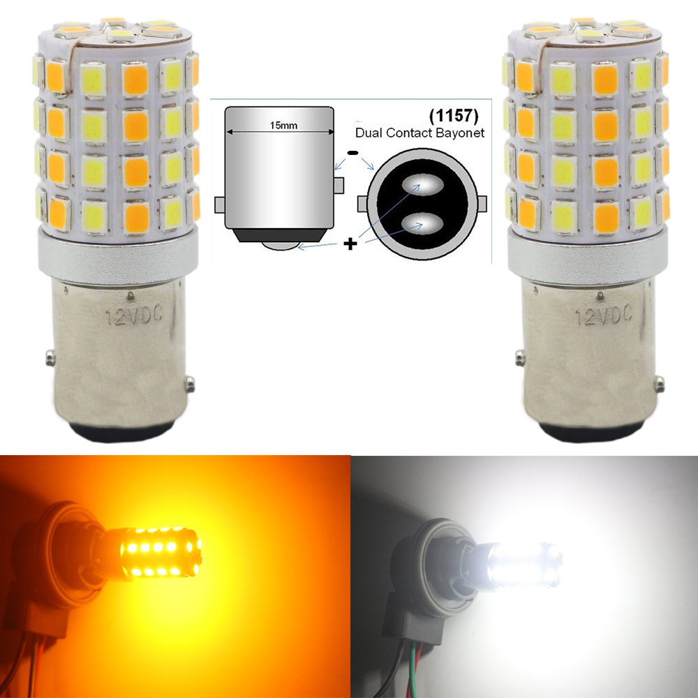 AMAZENAR 2-Pack 7441 7440 7443 7444 992 White/Amber Switchback LED Bulb Extremely Bright- 2835 54-SMD, Xenon White for Daytime Running Light/Parking Light, Yellow for Turn Signal Blinkers -NOT CK Amazenar(TM) AZ-7443-54L-AW