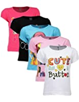 Goodway Girls Attitude Theme Printed T-shirts (Pack of 5 )(JG5PCKATT-1_Multicolour)