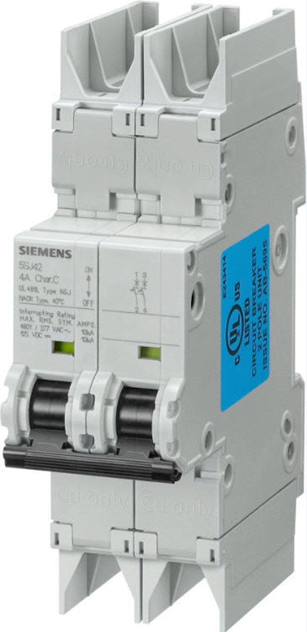 6 Ampere Maximum DIN Rail Mounted UL 489 Rated Type NSJ 480Y//277 VAC Tripping Characteristic D Siemens 5SJ42068HG42 Miniature Circuit Breaker 2 Pole Breaker 125 VDC