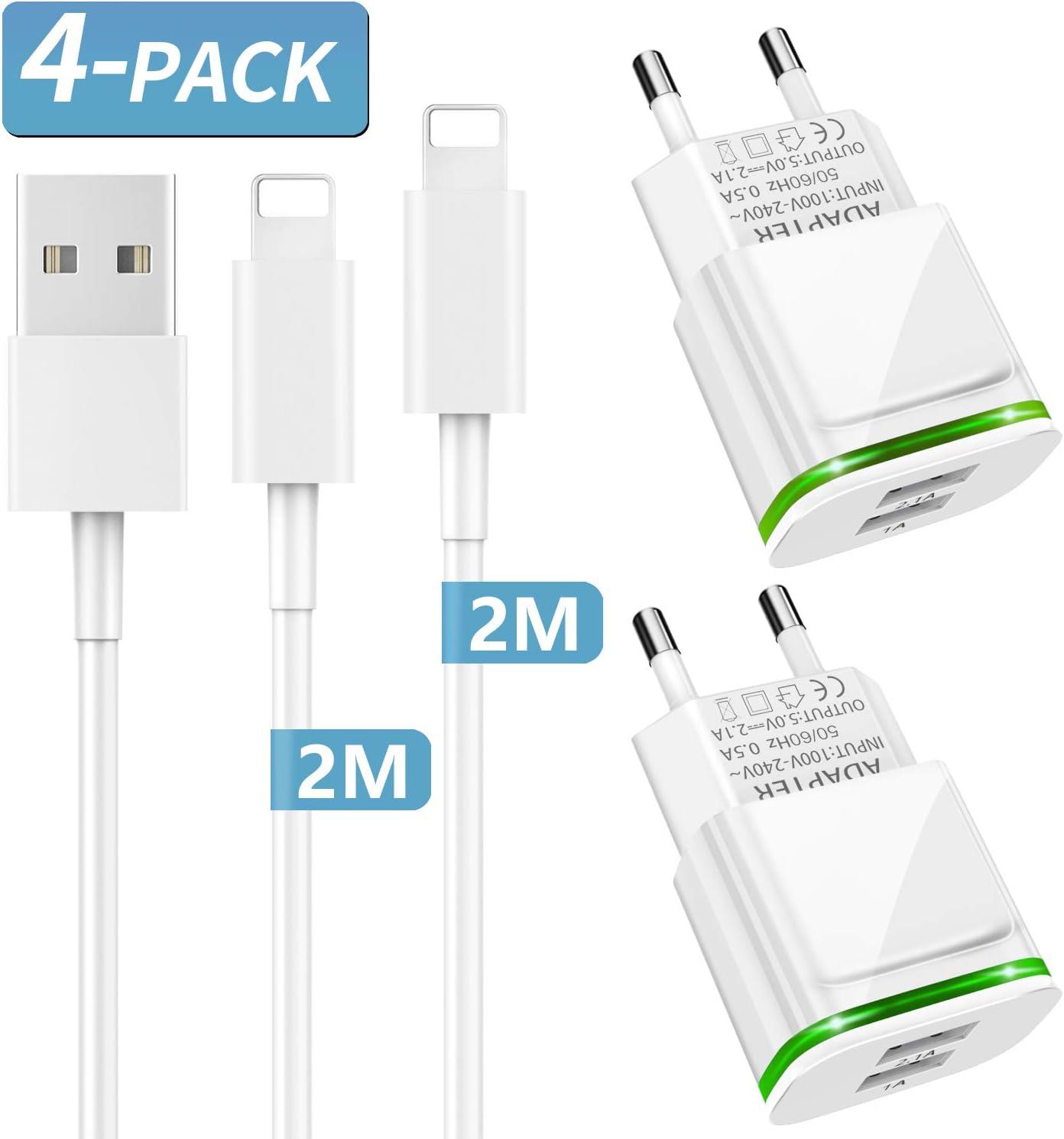 PICILOO Cargador Phone, 4-Pack 2M Cable + Dos Enchufe USB 2.1A/5V Movil Adaptador Compatible con iPhone 11 XS XS MAX/XR/X 8/7/6/6S Plus 5S/SE/5C, Pad Air Mini Pro, Pod: Amazon.es: Electrónica