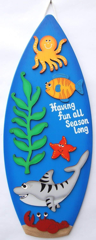 Claude16Poe Placa de Madera para Tabla de Surf con diseño de Personajes del océano de la Tabla de Surf de tiburón y océano, decoración para el baño: ...