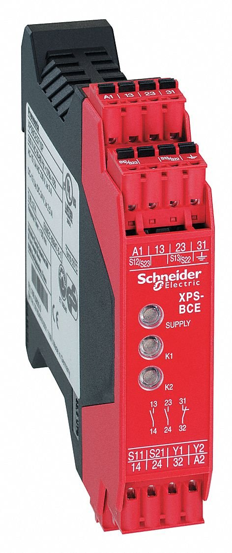 Safety Monitoring Relay, 2NO/1NC, Contact Load Rating: 1.5A, Input Voltage: 120VAC
