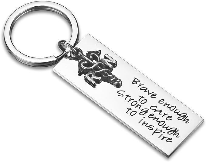 RN Rockstar Nurse Rectangle Keychain