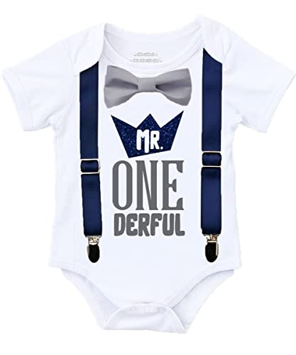 Amazon Mr Onederful 1st Birthday Outfit Shirt Navy And Grey With Suspenders Handmade