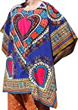 Raan Pah Muang RaanPahMuang Brand Throw Over Mexican Poncho (Fully Open Sides) Bold Heart Print, Navy Blue