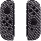 eXtremeRate Soft Touch Grip Black Silver Carbon Fiber Joycon Handheld Controller Housing with Full Set Buttons, DIY…