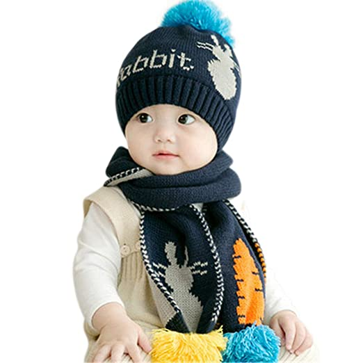 Kids Toddlers Hats Winter Warm Plush Hoodie Earflap Hat Wraps Scarf Gloves d0f6f18cb111