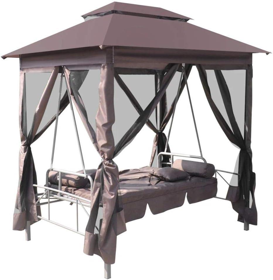 L x B x H Tragf/ähigkeit 240 kg 220 x 160 x 240 cm Nishore Pavillon Schaukelstuhl Hollywoodschaukel Gartenschaukel mit Bettfunktion Stahlrahmen Max