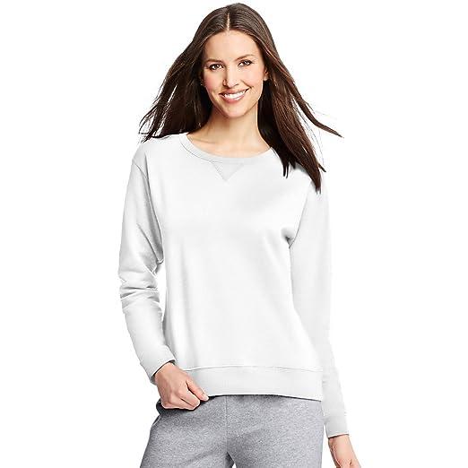 Hanes Women`s ComfortSoft EcoSmart Crewneck Sweatshirt White at ... 4cff97a6fb