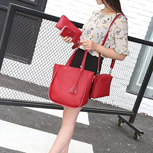 Shoulder Fashion Women Pieces tassel Wallet Crossbody TUDUZ Messenger Bags Bags Bag Set Tote Handbag Shoulder Purse Handbag Four Red Bag Casual Four ItO8nvqx