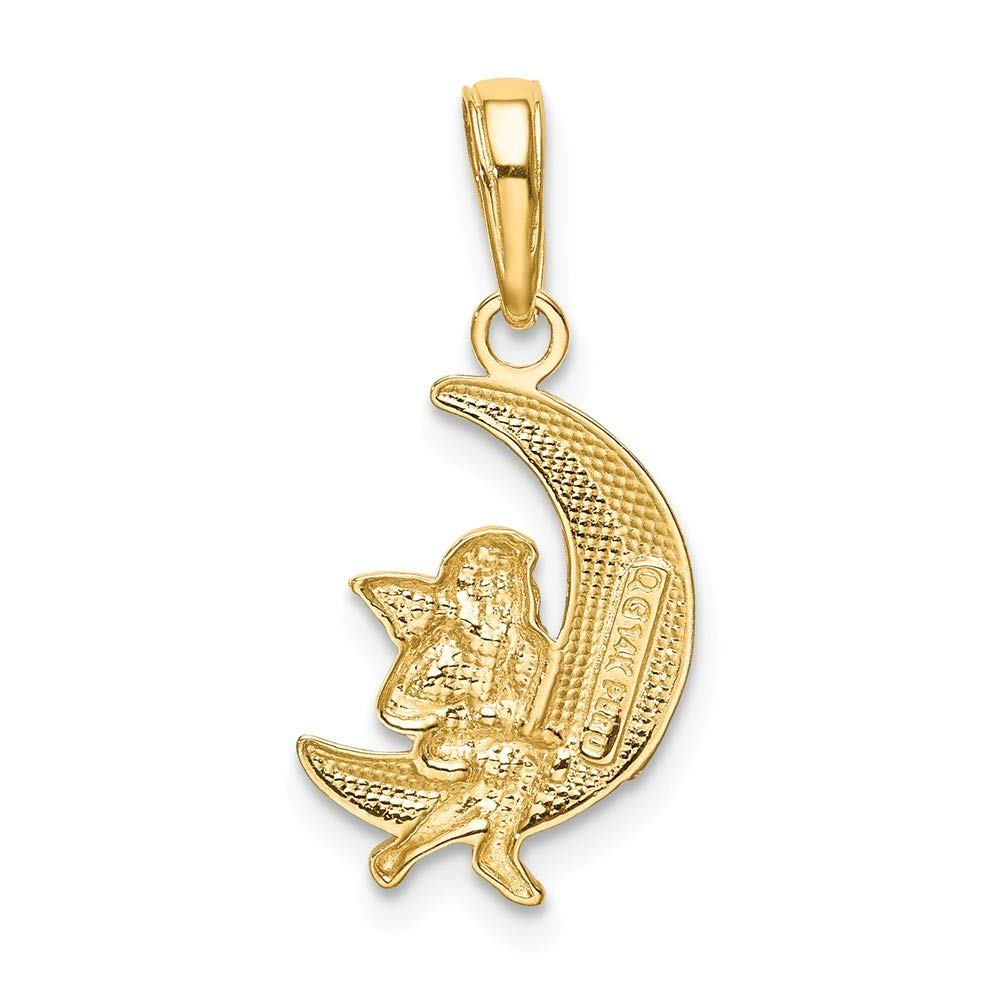 14K Yellow Gold And Rhodium Polished Moon with Angel Pendant from Roy Rose Jewelry