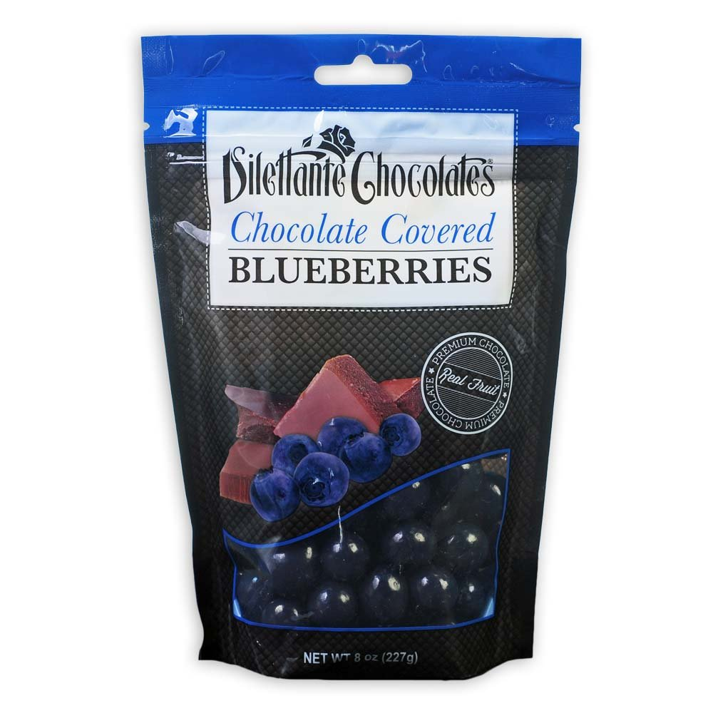 Chocolate Covered Blueberries in Premium Chocolate - 8 oz Pouches - by Dilettante (3 Pack)