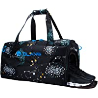 GeWeDen Sports Gym Bag with 2 Wet Pockets & Shoes Compartment Galaxy Pattern for Men and Women