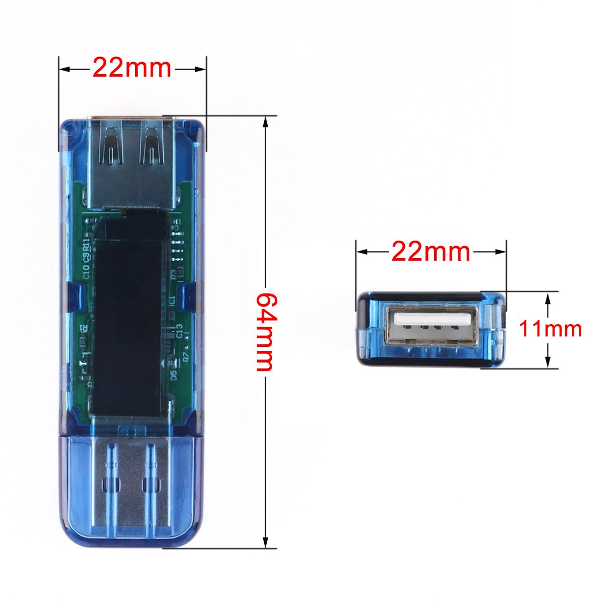 DROK® Mini USB Capacidad de corriente Voltaje Cargador Detector multímetro Poder 0-99999mAh; 0-30.00W; DC 0.00-3.00A; DC 3.50-13.0V amperímetro del ...