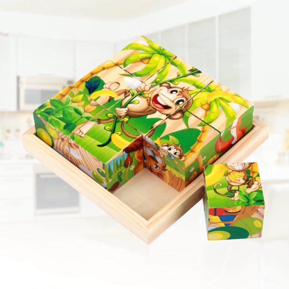 TOYMYTOY 3D Cubetti in legno per gioco di puzzle di animali foresta 9PCS