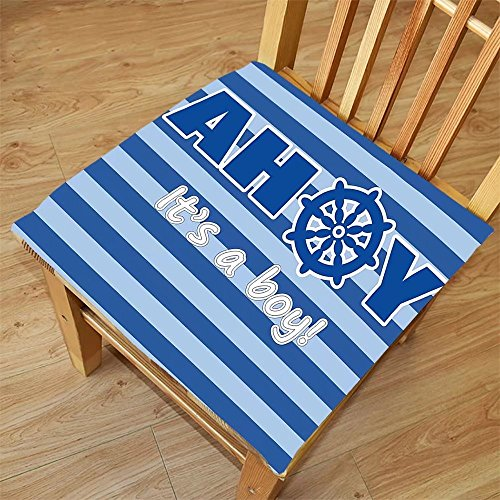 Magnetic Photo Birth Announcements (Nalahome Set of 2 Waterproof Cozy Seat Protector Cushion Ahoy Its a Boy Baby Shower New Birth Announcement Marine Wheel Striped Backdrop Light Blue Blue White Printing Size 22x22inch)