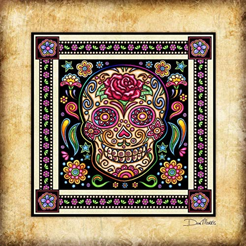 Day of the Dead Sugar Skull Square Art Print Dan Morris -