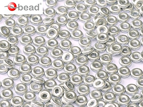 5gr O-Bead - Czech Glass Pressed Beads in donut shape 1x4 mm Aluminium Silver Jablonex
