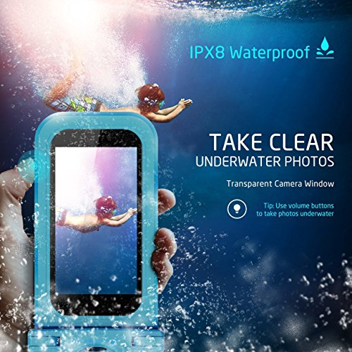 Firstbuy Universal Waterproof Case Waterproof Phone Pouch IPX8 Dry Bag For iPhone 8/7/7 Plus/6S/6/6S Plus/SE/5S, Samsung Galaxy S8/S8 Plus/Note 8 6 5 4, Google Pixel 2 HTC LG Sony MOTO - 4 Pack by Firstbuy (Image #1)