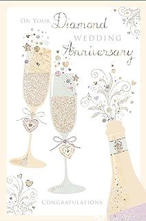 "Silver Butterflies Hearts 7.75/"" x 5.25/"" Diamond 60th Wedding Anniversary Card"