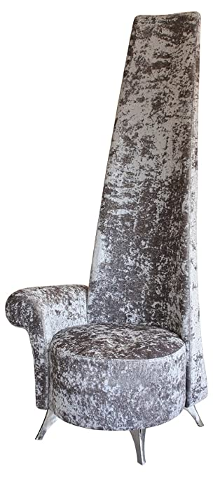 Stickbase Ltd Silver Crushed Velvet Potenza Chair   Luxury Handmade Chair  Armrest