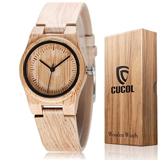 CUCOL Mujeres Bambú Grabado Cuero de Vaca Correa Reloj de Madera analógico Cuarzo Reloj de Pulsera: Amazon.es: Relojes