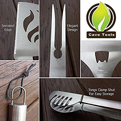 Barbecue Grill Brush + BBQ Tools Set - HEAVY DUTY 20% THICKER STAINLESS STEEL - Professional Grade Accessories - 3 Piece Utensils Kit Includes Spatula Tongs Fork - Unique Birthday Gift Idea For Dad from Cave Tools