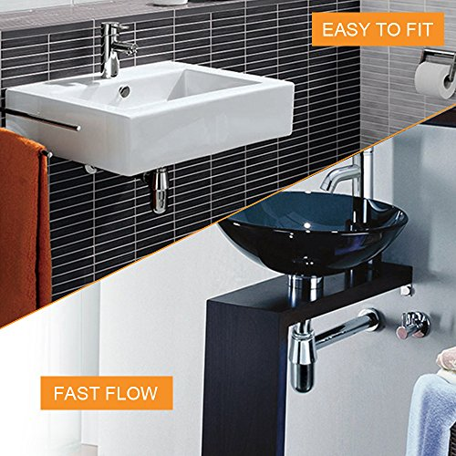 Gimify Bathroom Sink Round Bottle Trap, Zinc Alloy Bottle Waste Trap Drain Kit P-TRAP Tube and Pop Up Drain Stopper with Overflow Chrome by Gimify (Image #1)