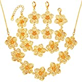 3 Pieces Jewelry Set 18K Gold Plated Flower Necklace Bracelet Earrings For Wedding