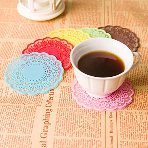 Mziart Set of 6 Colorful Sweet Semitransparent Lace Cup Mat Silicone Coaster for Wine, Beer, Glass, Tea - Good Grip, Large 4 inch Size