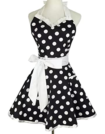 ea87b5c87ae Sweetheart Retro Kitchen Aprons Woman Girl Polka Dot Cooking Salon Pinafore  Vintage Apron Dress
