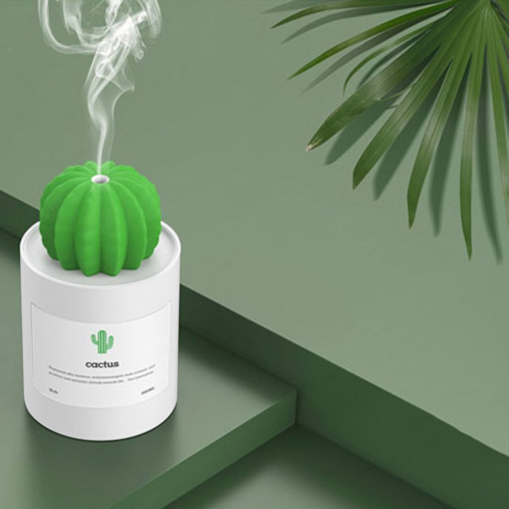 Cactus Humidifier Mini Portable Ultrasonic Aroma Diffuser 280ml USB Mute Household Office Desktop Living Room Bedroom Yoga SPA Atomizer (White)