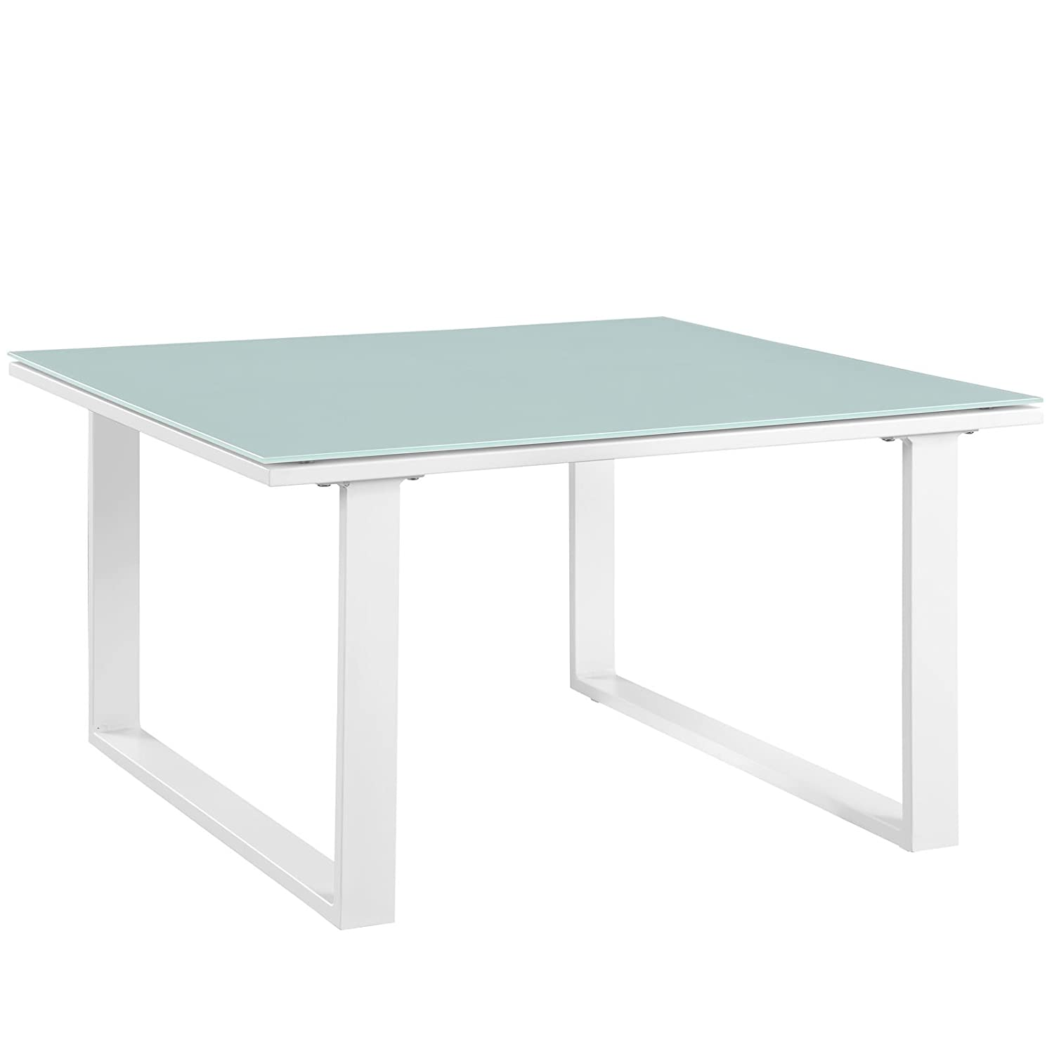 Modway Fortuna Aluminum Outdoor Patio Side Table in White