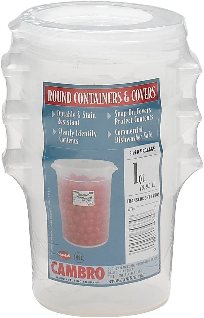Cambro 1-Quart Round Food-Storage Container with Lid, Set of 3