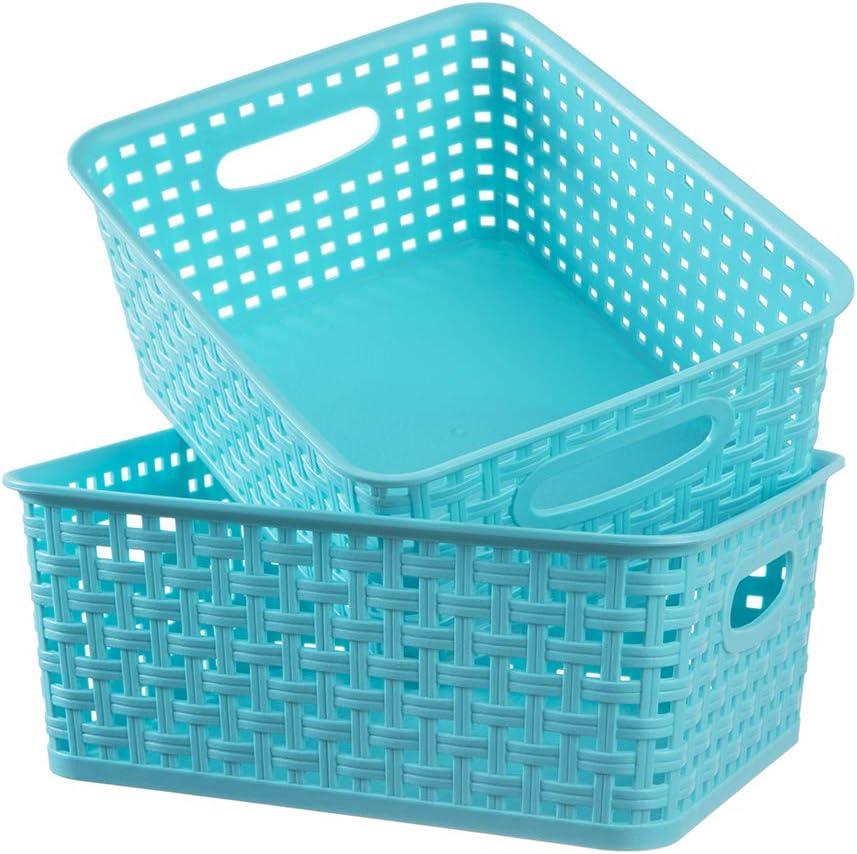 Plastic Storage Woven Baskets, 2 Pack Blue Weave Plastic Storage Basket, Storage Organizer Basket Fit for Bathroom Kitchen Office Cupboard Shelf