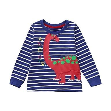 b0834ee92 K-youth Ropa Bebé Niños Camisetas para 1 a 5 Años Chic Dinosaurio Rayas  Impresión Shirt Niñas Bebé Blusas Niña Manga Larga Tops Camisas Bebe Niña  Sudaderas: ...