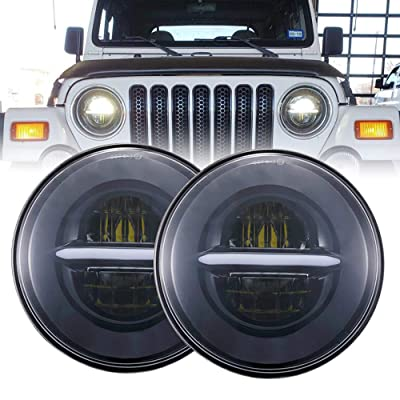 BICYACO DOT 7 Inch Round Black LED Headlight High Low Beam with White Halo DRL for Jeep Wrangler JK TJ LJ CJ Hummer H1 H2 (1 Pair): Automotive