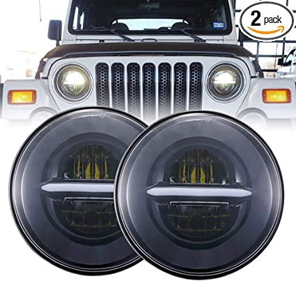 """Hummer H1 H2 DOT 7/"""" Inch Round LED Headlight Halo Projector DRL Hi//Lo Beam"""